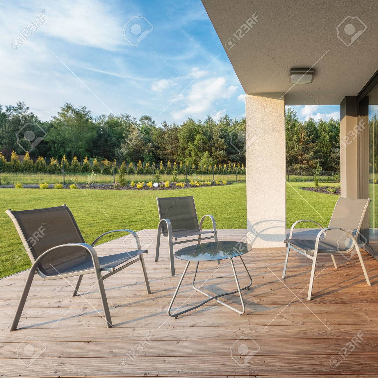 Holzboden Terrasse Stock Photo