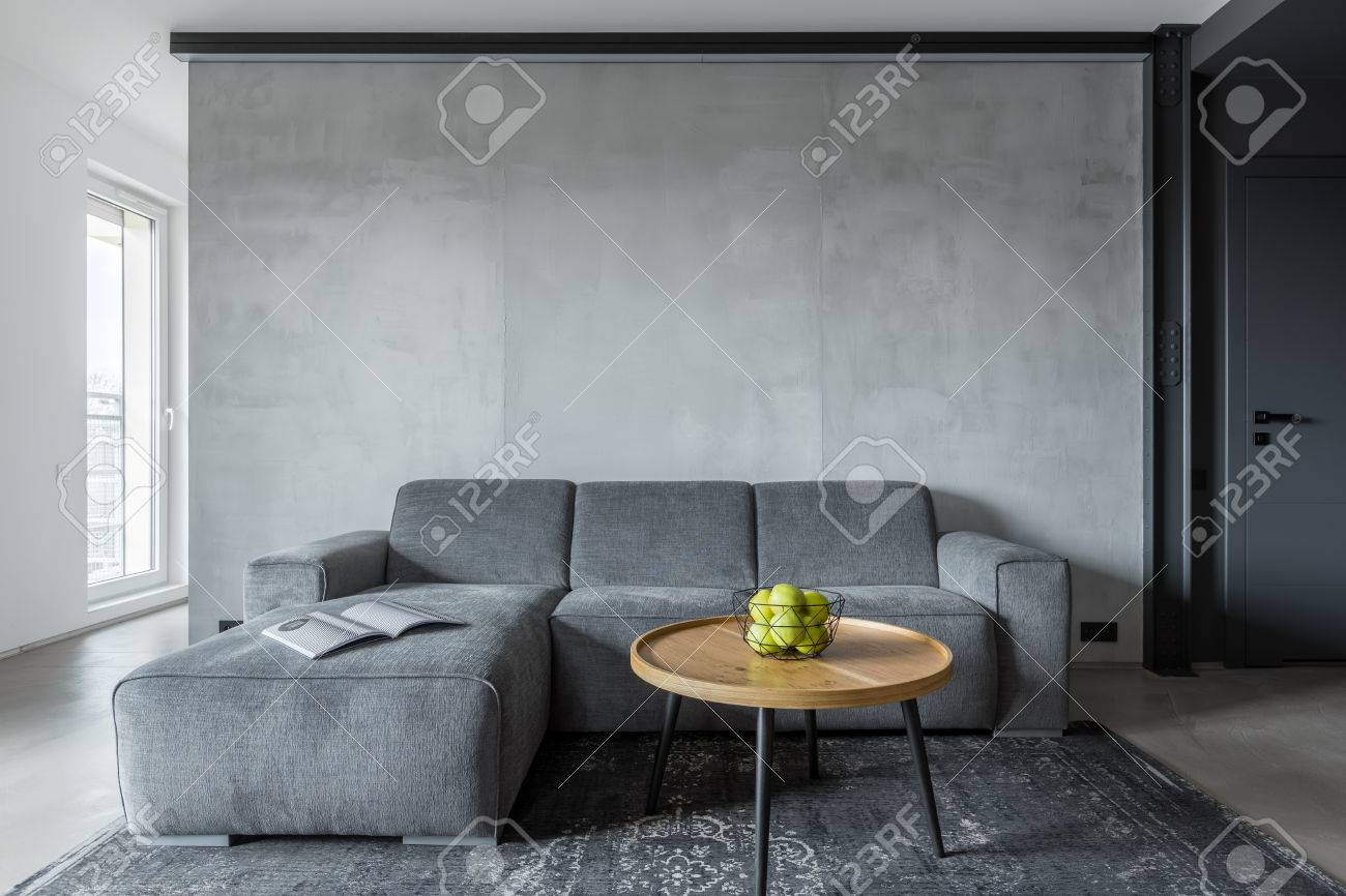 Gray Sofas For Living Room Living Room With Gray Sofa And Round Coffee Table