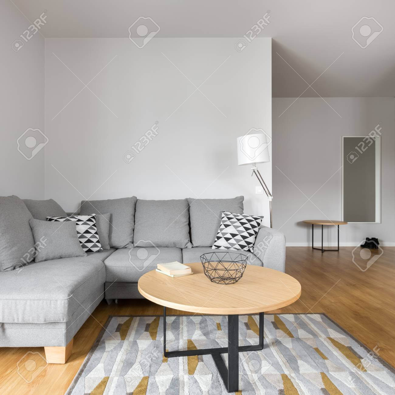 Square Sofa Square Photo Of Modern Living Room With Grey Sofa And Round Table