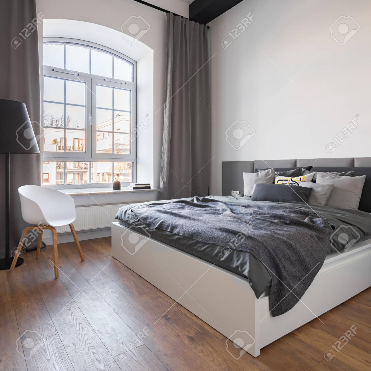 Scandinavian Furniture Bed Gray Bedroom With Big Window Double Bed And White Chair In Scandinavian