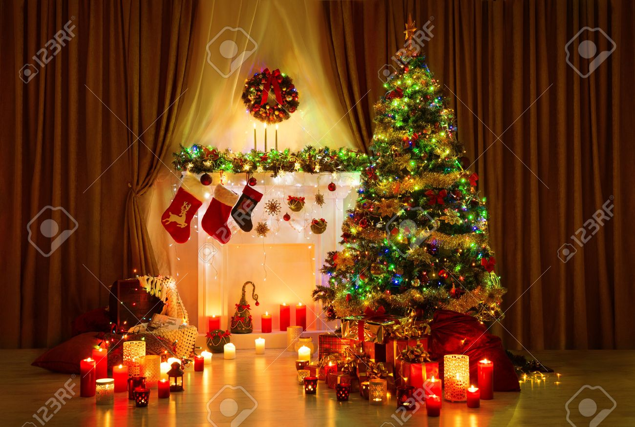 Deko Weihnachten Kamin Stock Photo