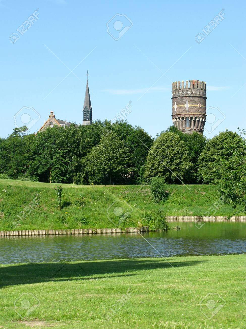 In De File Hellevoetsluis The City Wall And The Water Tower Of Hellevoetsluis In The Netherlands