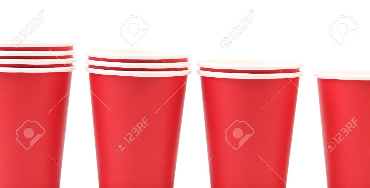Rote Plastikbecher Stock Photo