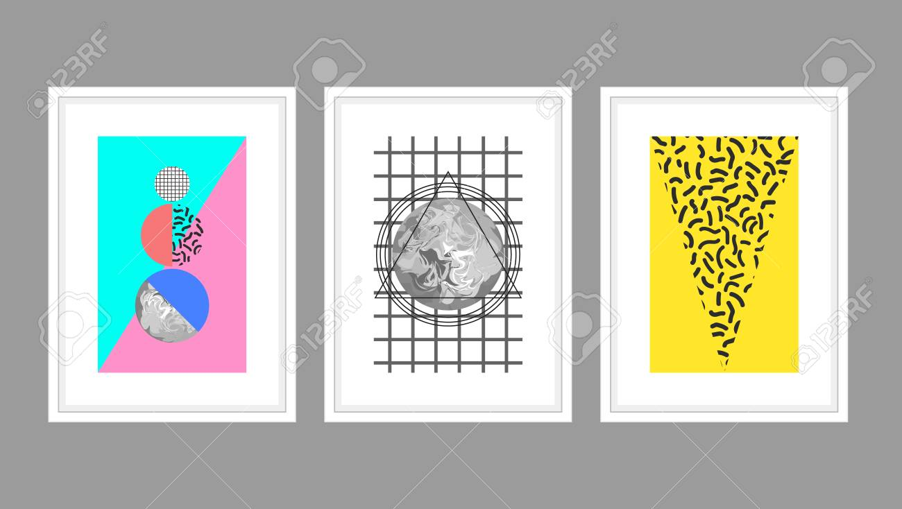 Planets Wall Art Abstract Wall Art Poster Vector Set In Memphis Style With Geometric