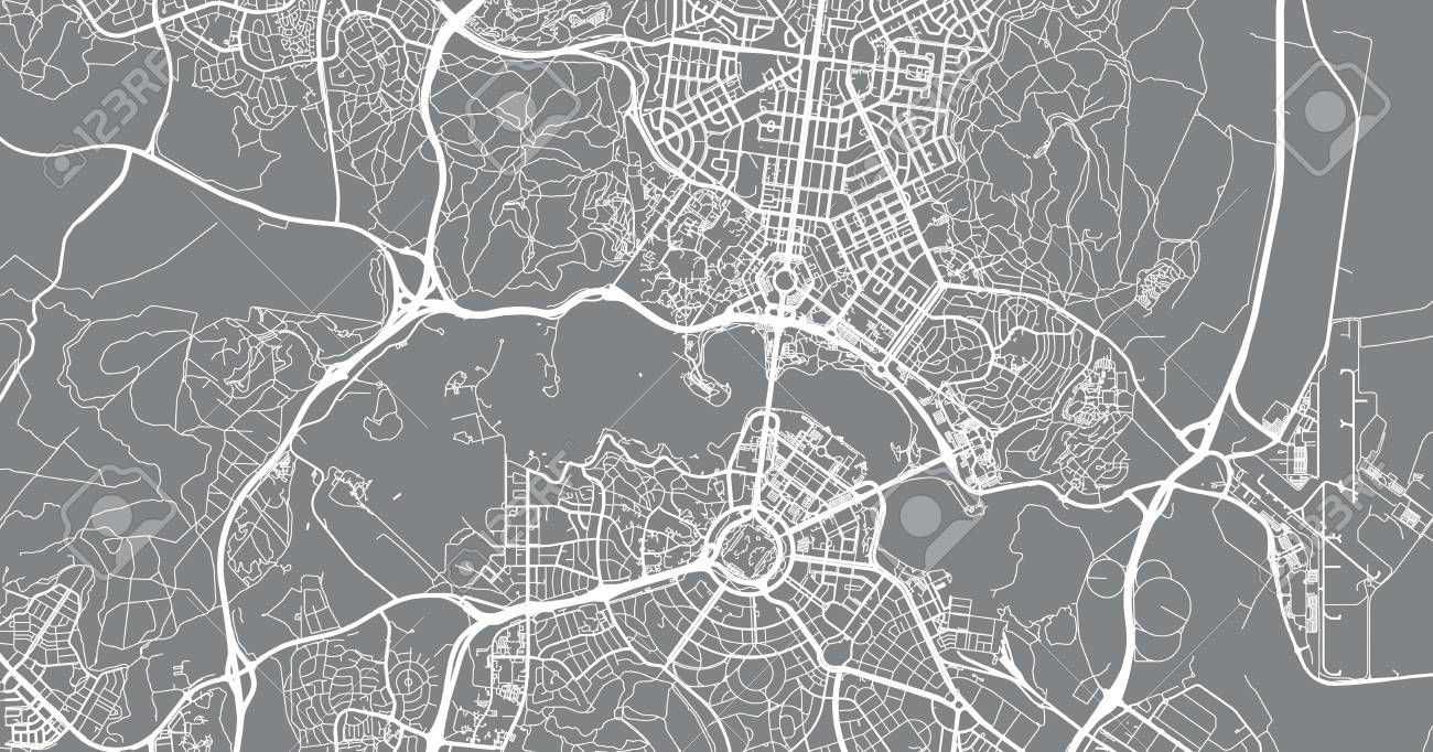 Map Of Canberra Urban Vector City Map Of Canberra Australia