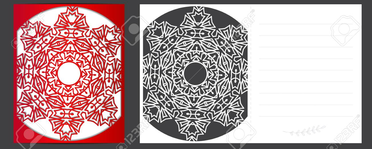 Christmas Card, A Template For Laser Cutting Royalty Free Cliparts