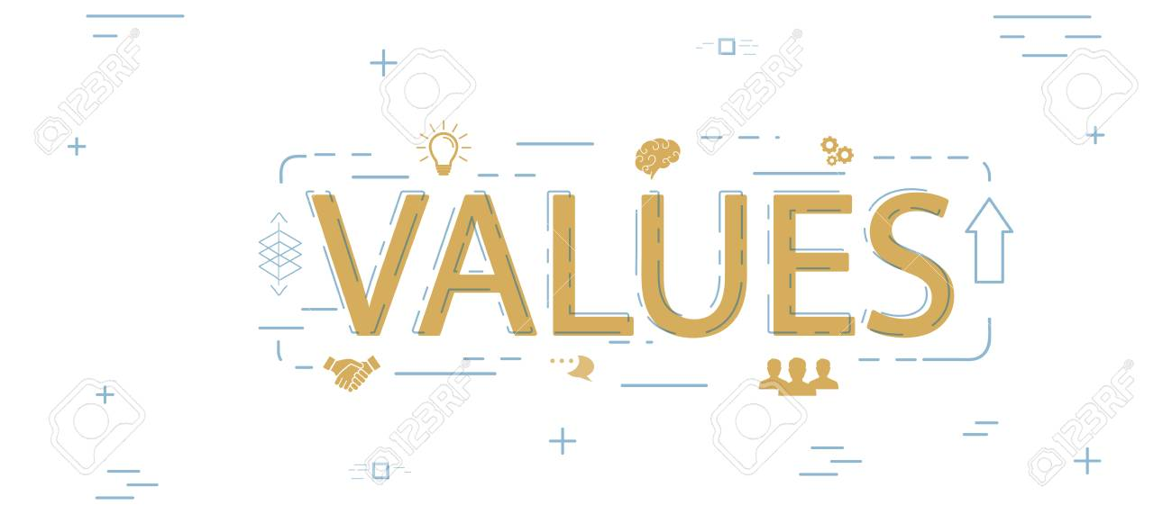 Values Word Creative Design Royalty Free Cliparts, Vectors, And