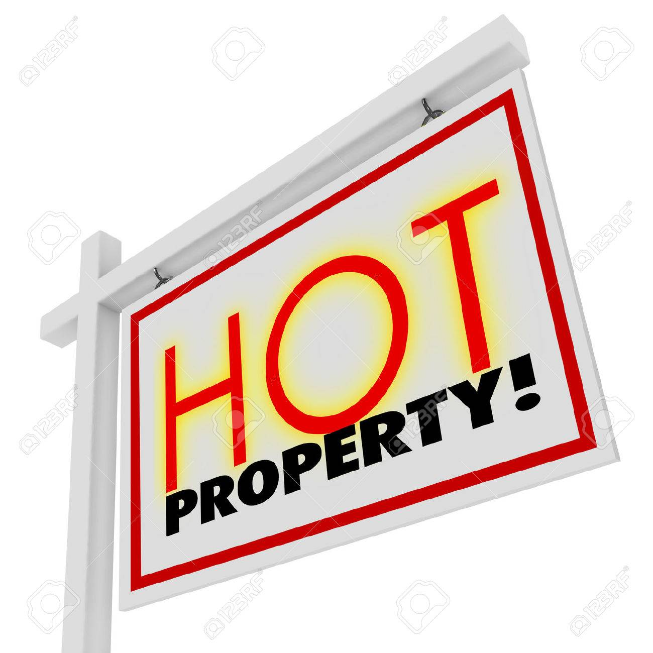 Hot Houses For Sale Hot Property Words In Sizzling Red Letters On A White Home Or