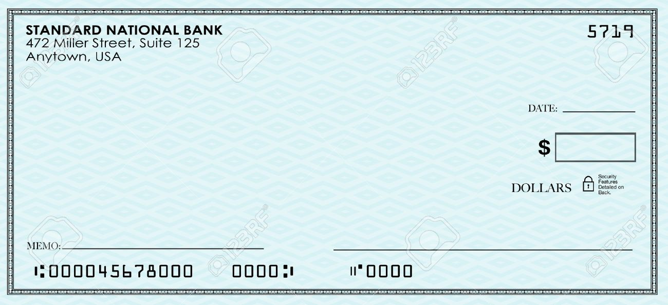 Blank Check For You To Send Money From Your Bank Or Savings Stock