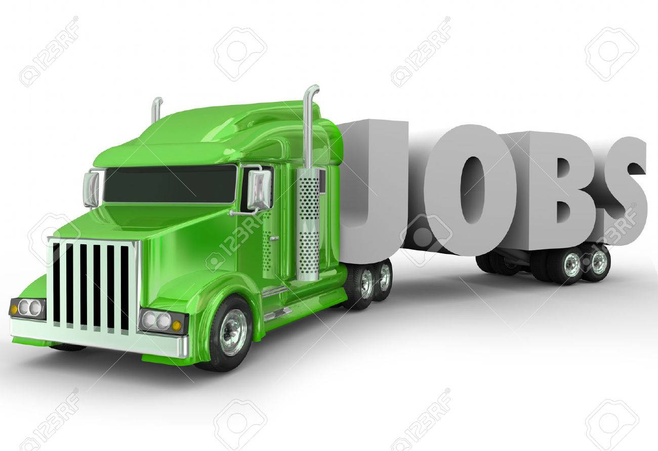 Career Trucking Jobs 3d Word Hauled By A Truck Cab On A Trailer To Illustrate