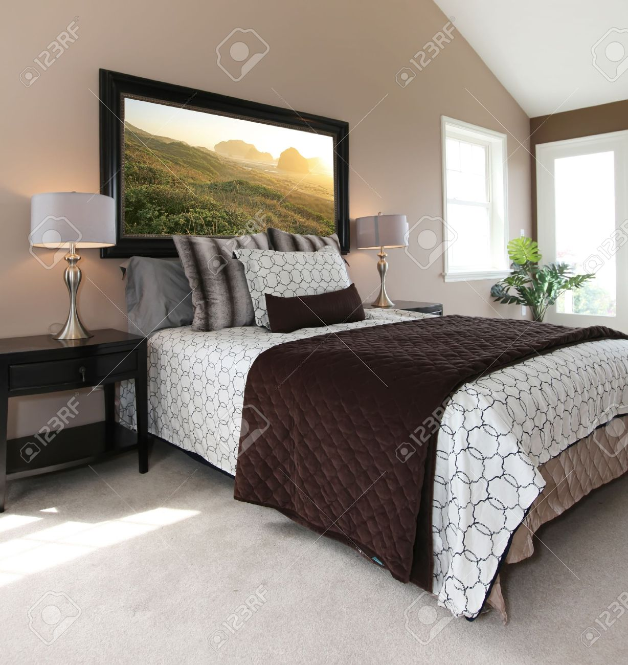 Braunes Schlafzimmer Stock Photo