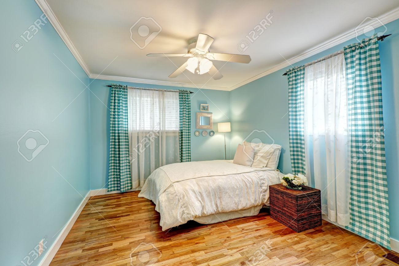 Curtains For A Blue Room Cheerful Light Blue Bedroom With Turquoise Curtains And White