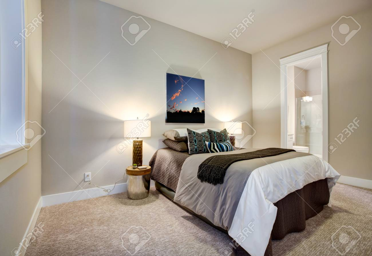 Schlafzimmer Design Braun Stock Photo