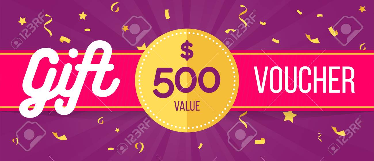 Gift Voucher Template With Confetti Design Usable For Gift Coupon