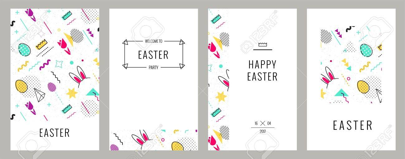Trendy Geometric Elements Memphis Cards Happy Easter Invitation