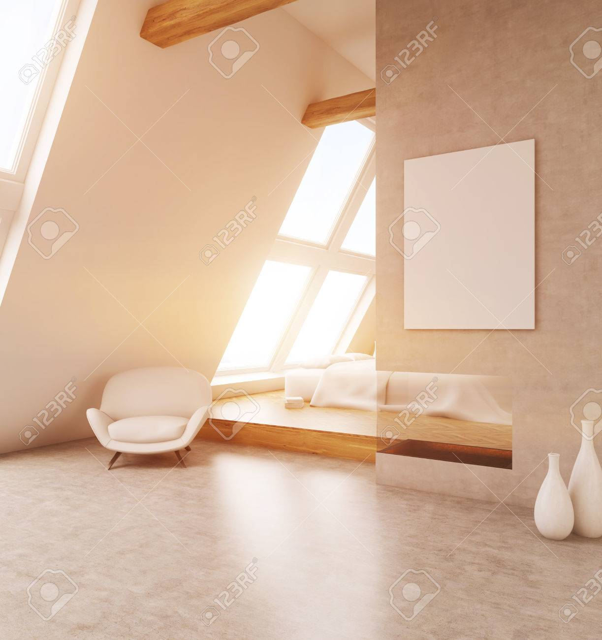 Schlafzimmer Beige Wand Stock Photo