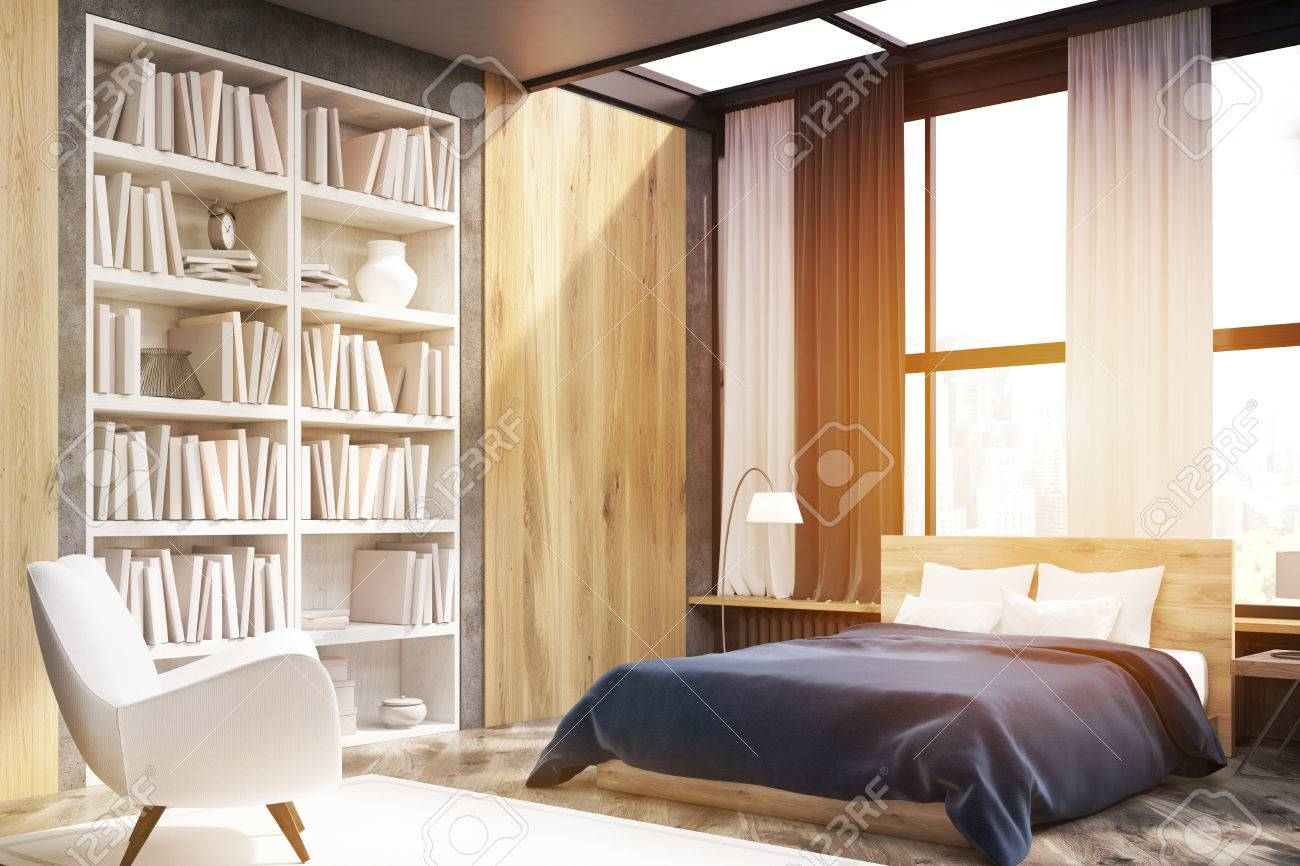Bücherregal Schlafzimmer Stock Photo