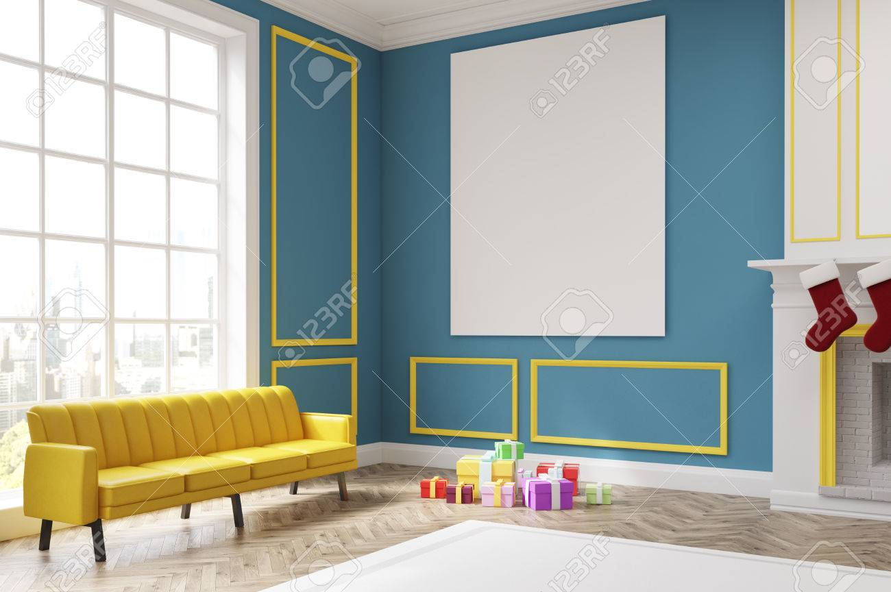 Divano Giallo Instagram Corner Of A Living Room With Blue Walls Fireplace And Socks