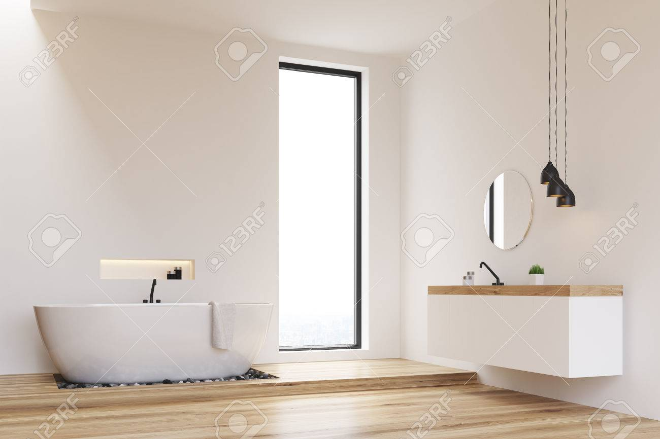 Badezimmer Schmales Fenster Stock Photo