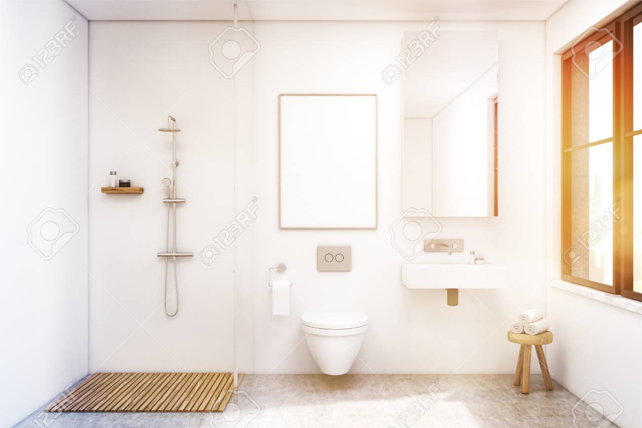 Bathroom Interior With A Shower A Toilet And A Sink There Is Stock Photo Picture And Royalty Free Image Image 71609363