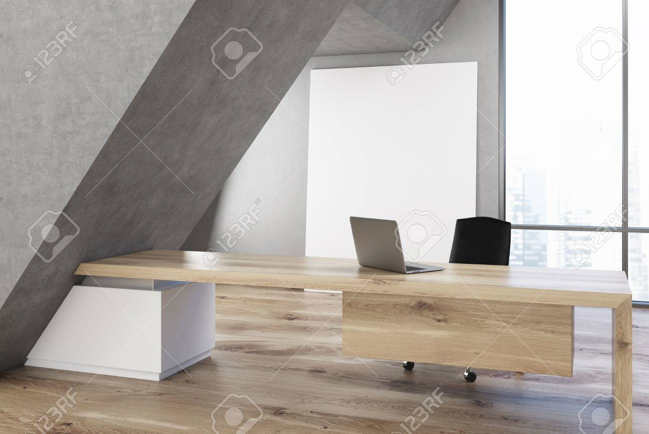 Long Wood Desk Ceo Office Interior With A Long Wooden Table A Laptop Standing