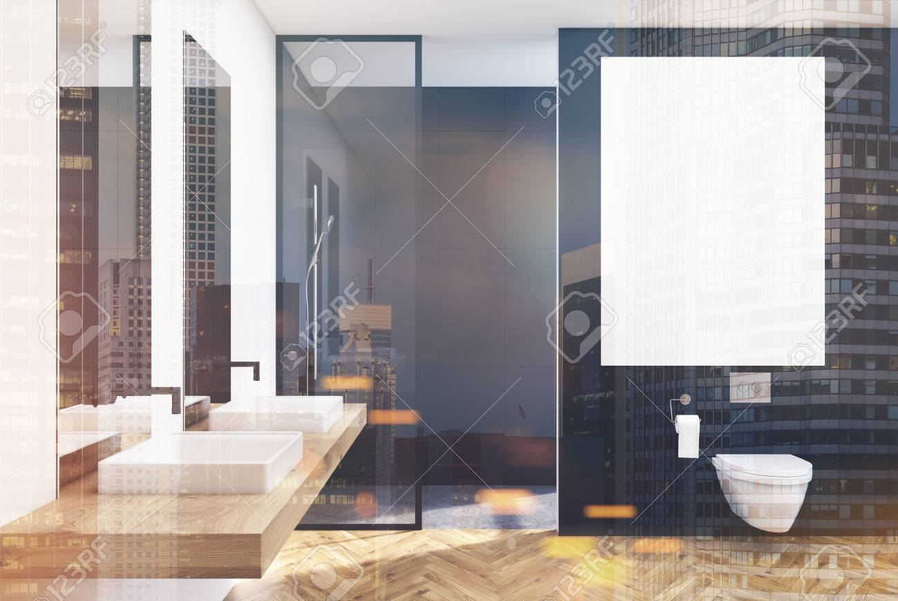 Glastrennwand Loft Black Lavatory Interior With A Vertical Poster A Shower With