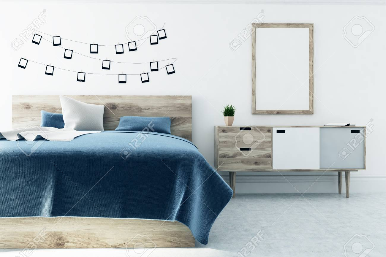Schlafzimmer Dunkelblau Stock Photo