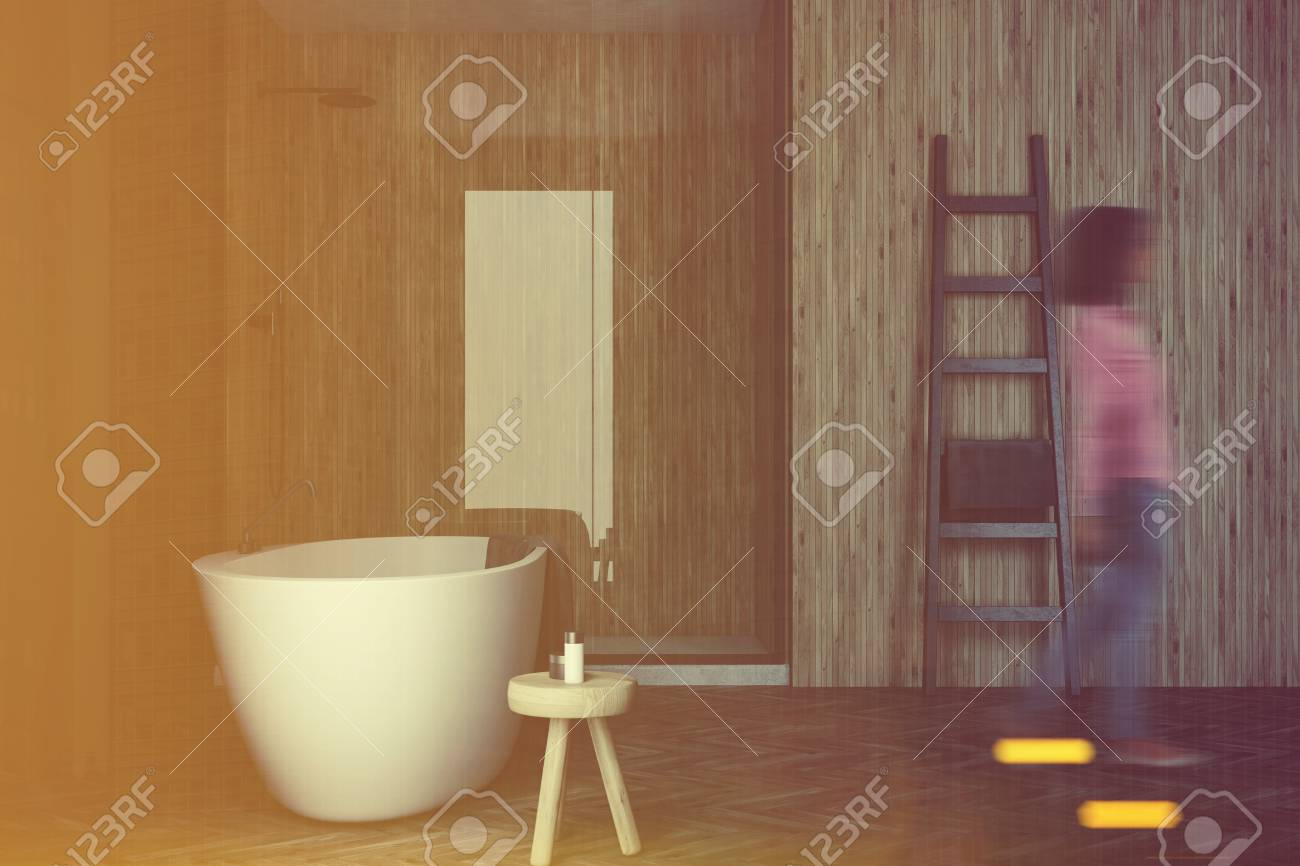 Badezimmer Grau Holz Stock Photo
