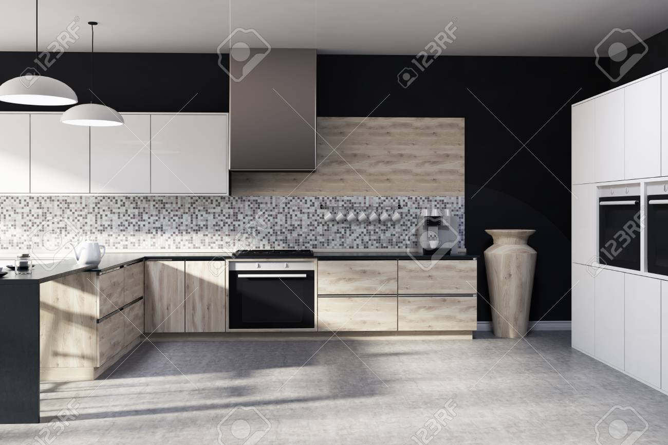 Black Kitchen Light Black Kitchen Interior With A Mosaic Wall A Concrete Floor