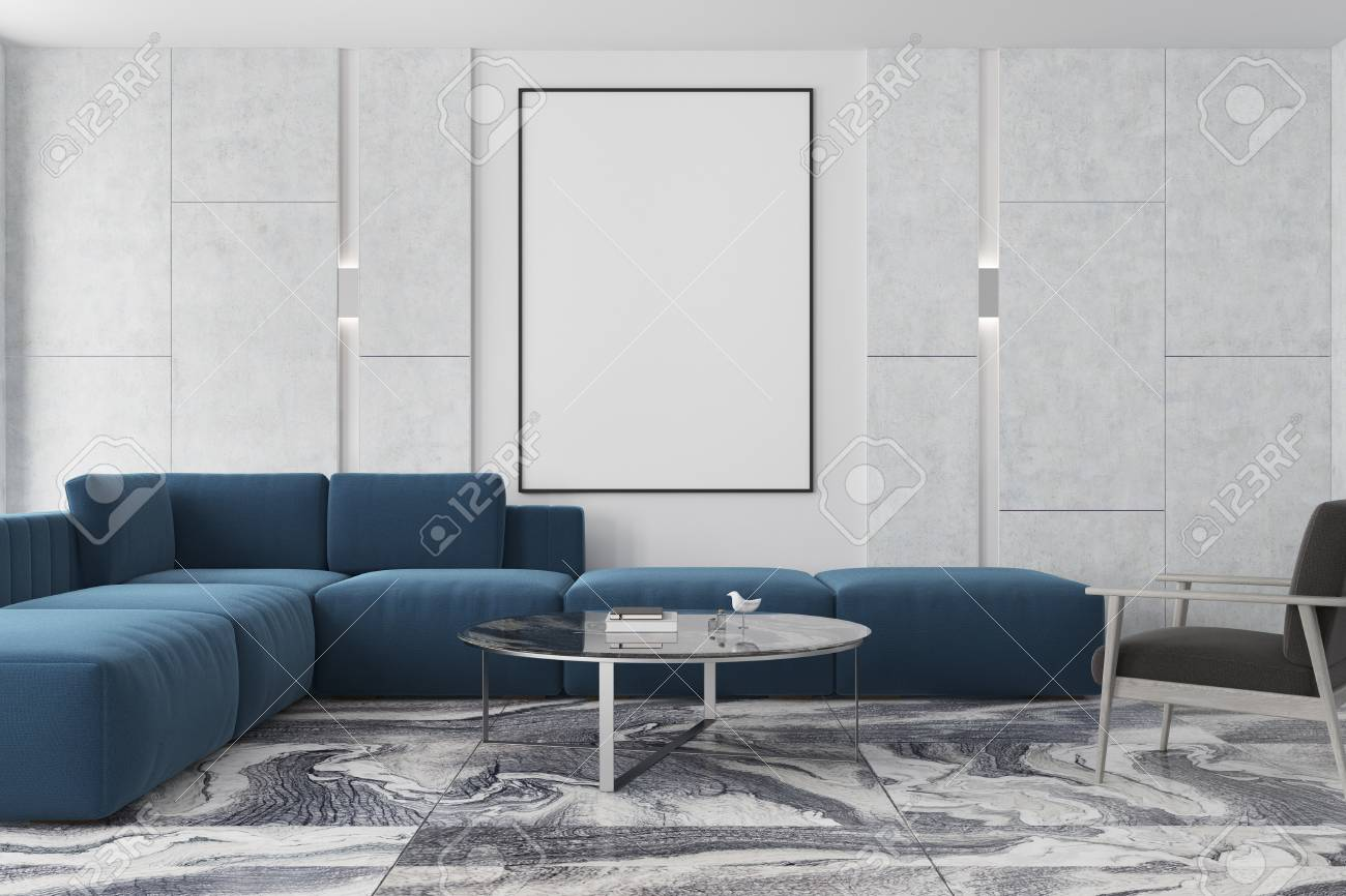 Grey White And Blue Living Room Modern Living Room Interior With A Gray Marble Floor Gray And