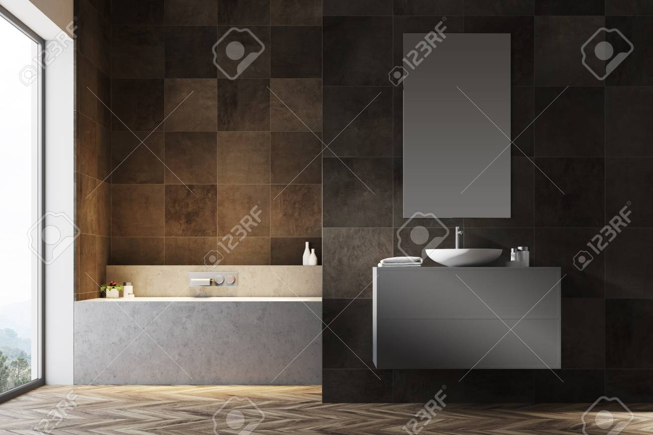 Dark Tiled Bathroom Interior With A Wooden Floor A Bathtub Stock Photo Picture And Royalty Free Image Image 96214348