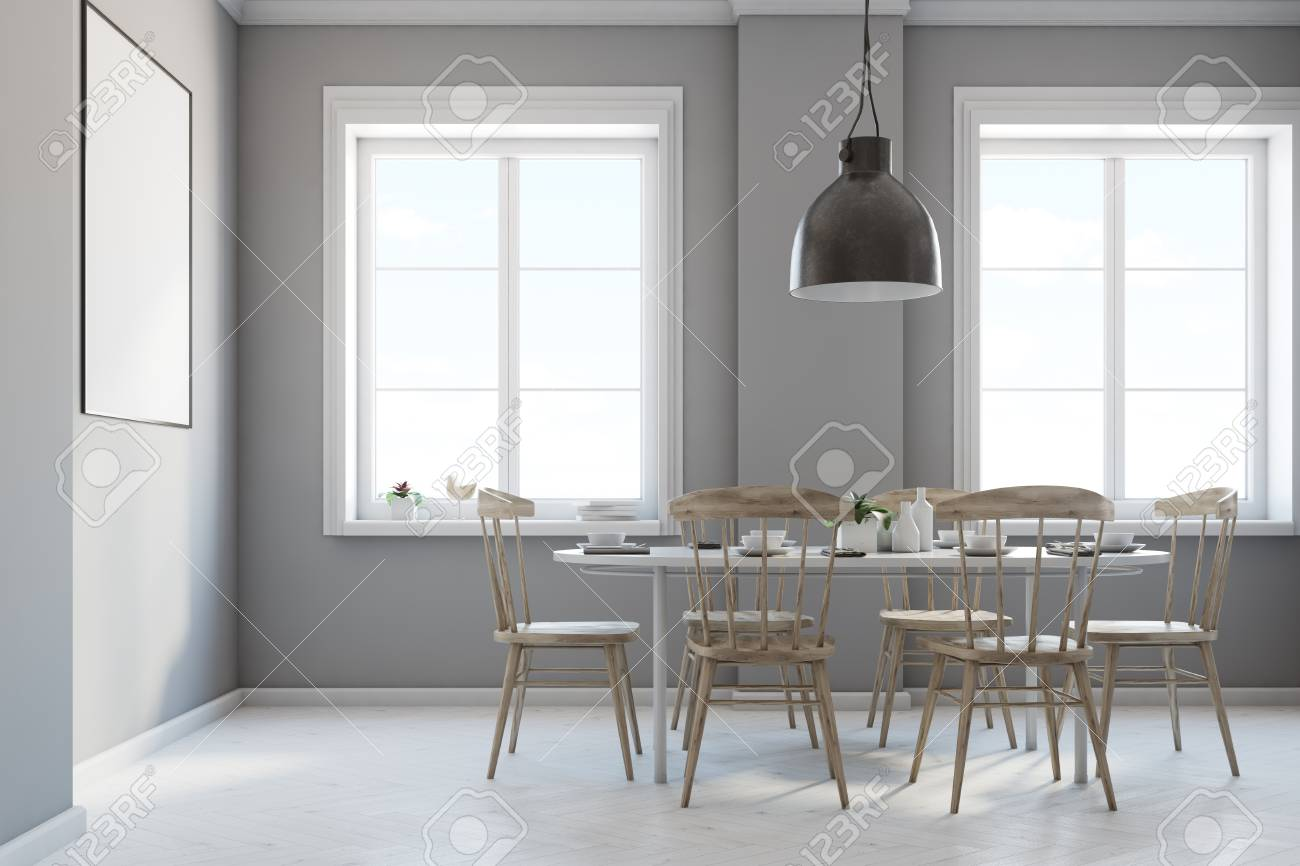 Light Wood Floors Gray Walls Gray Dining Room Interior With A Concrete Floor Gray Walls