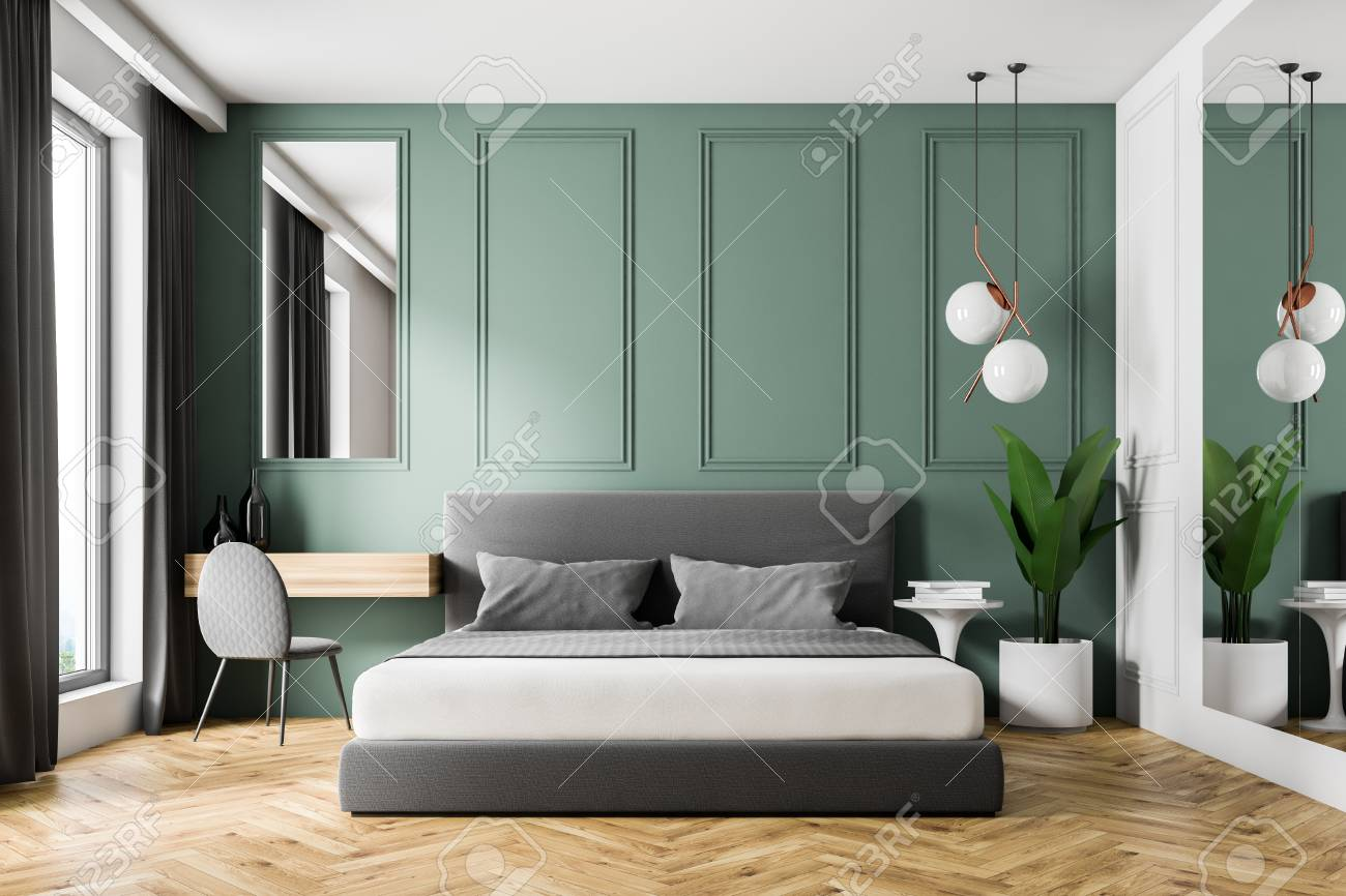 Wooden Make Up Table Interior Of Modern Bedroom With Green Walls Wooden Floor Gray