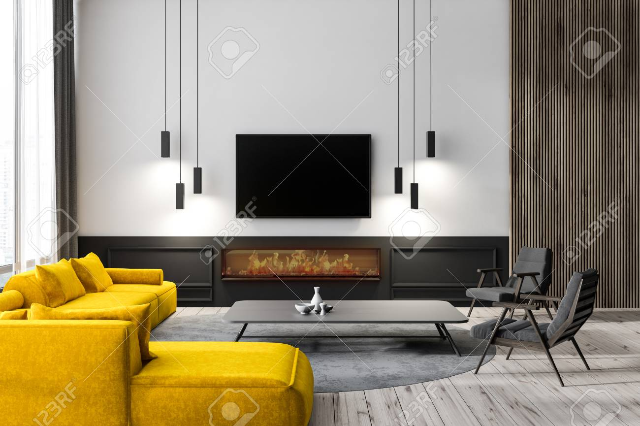 Wood Wall Behind Tv Modern Living Room Interior With White Walls Wooden Floor Yellow