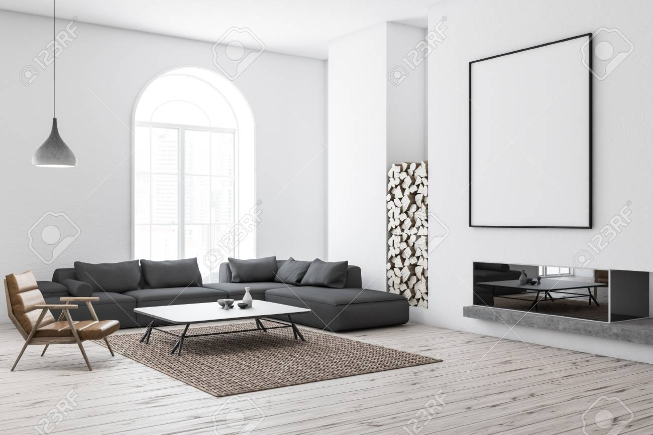 Gray Sofas For Living Room Corner Of Modern Living Room With White Walls Wooden Floor
