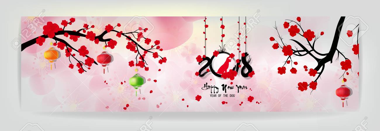 Set Banners Happy New Year 2018 Greeting Card And Chinese New