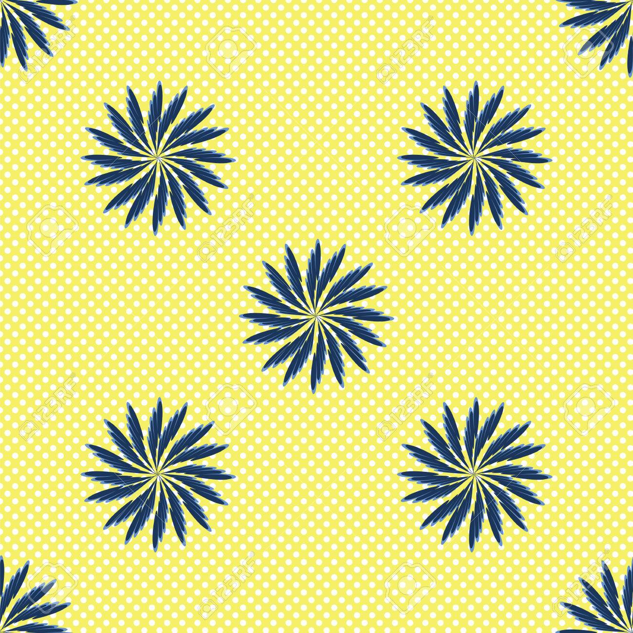 Art Nouveau Yellow Wild Flowers Blue Cornflowers Art Nouveau Abstract Creative Vector