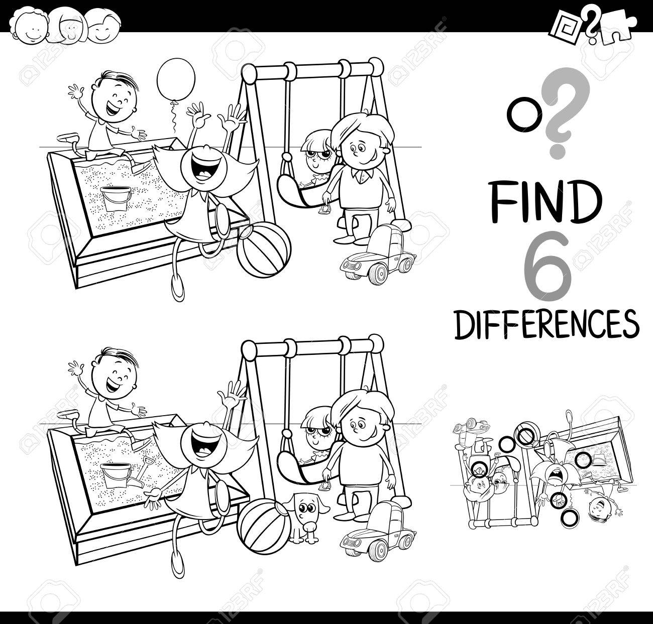 Black and white cartoon illustration of finding the difference educational activity for children with kids on
