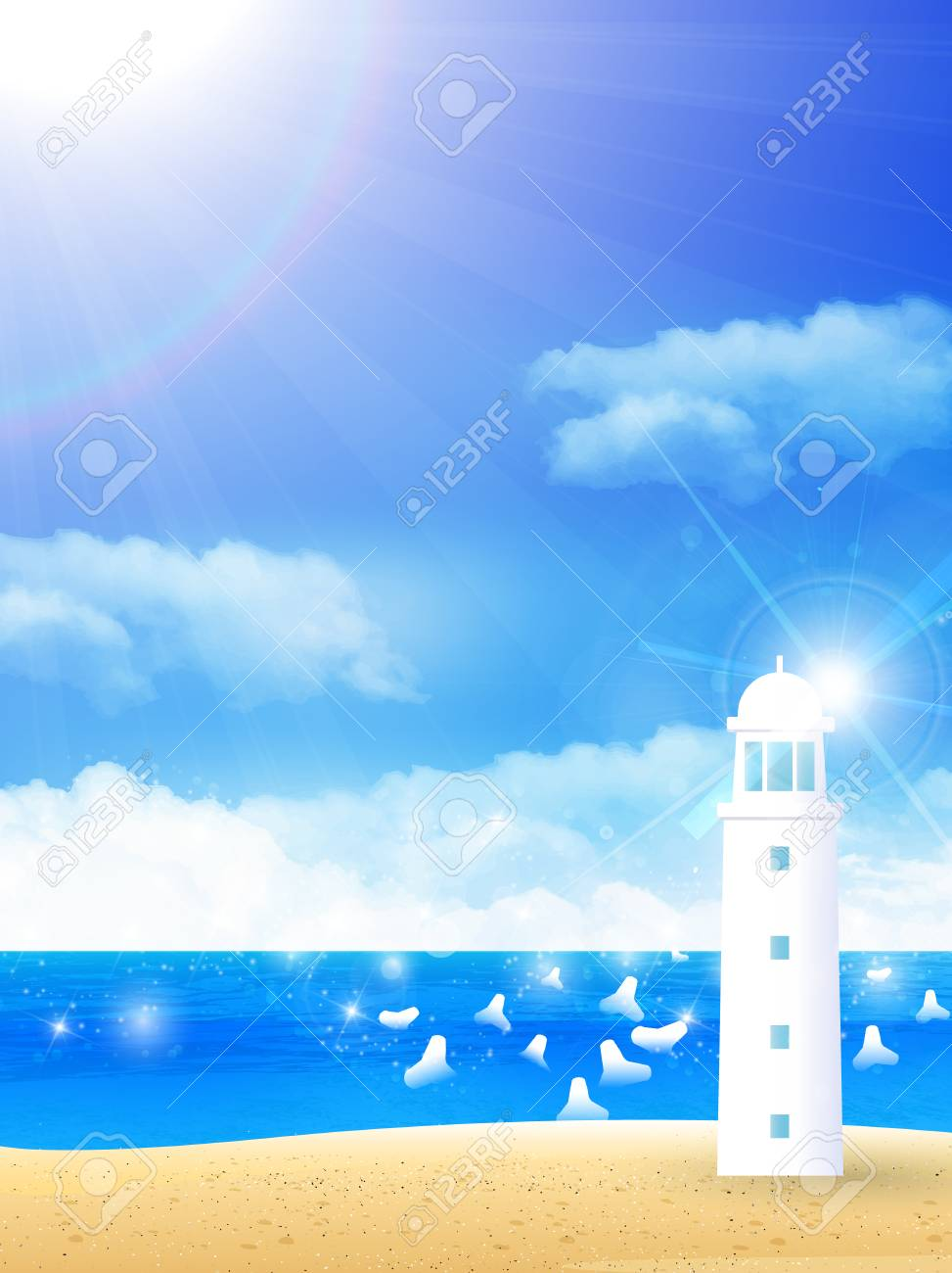 Lighthouse Background Sea Summer Lighthouse Background