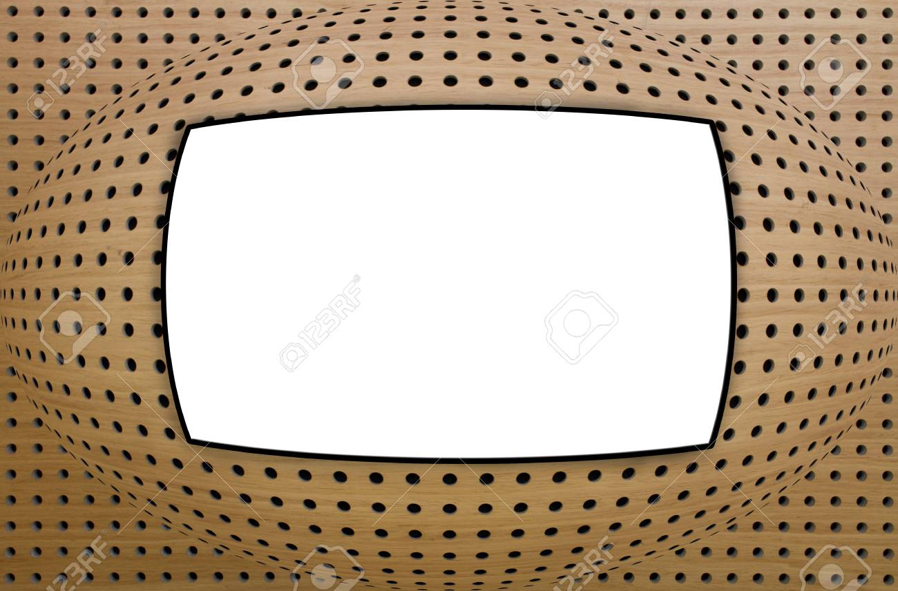 Tv Board Beige White Board As A Tv Screen On Wood Like Background
