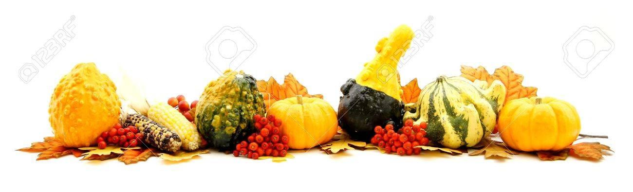 Autumn Horizontal Edge Border Of Various Harvest Items Stock Photo