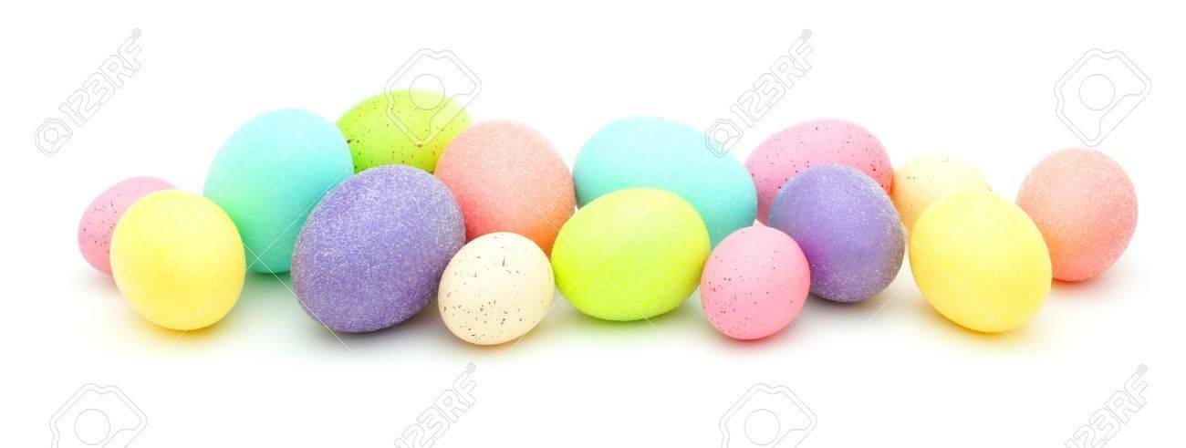 Horizontal Border Of Colorful Easter Eggs Over White Stock Photo