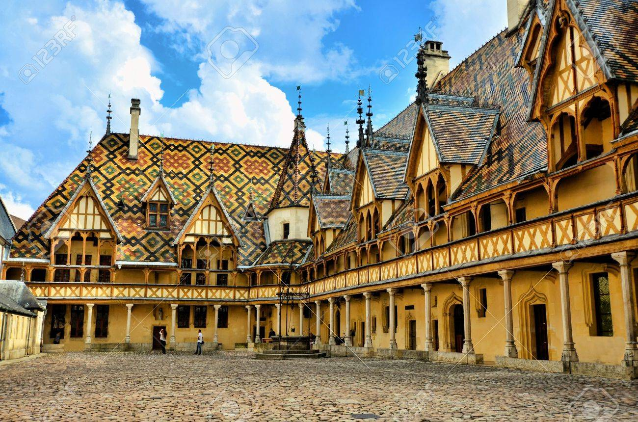 Beaune Hotel Iconic Courtyard Of Hotel Dieu Beaune France