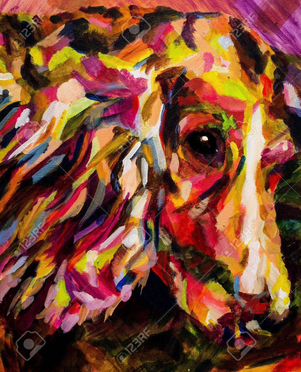 Bright Colours Painting Acrylic Contemporary Painting Of Spaniel Dog In Bright Colours