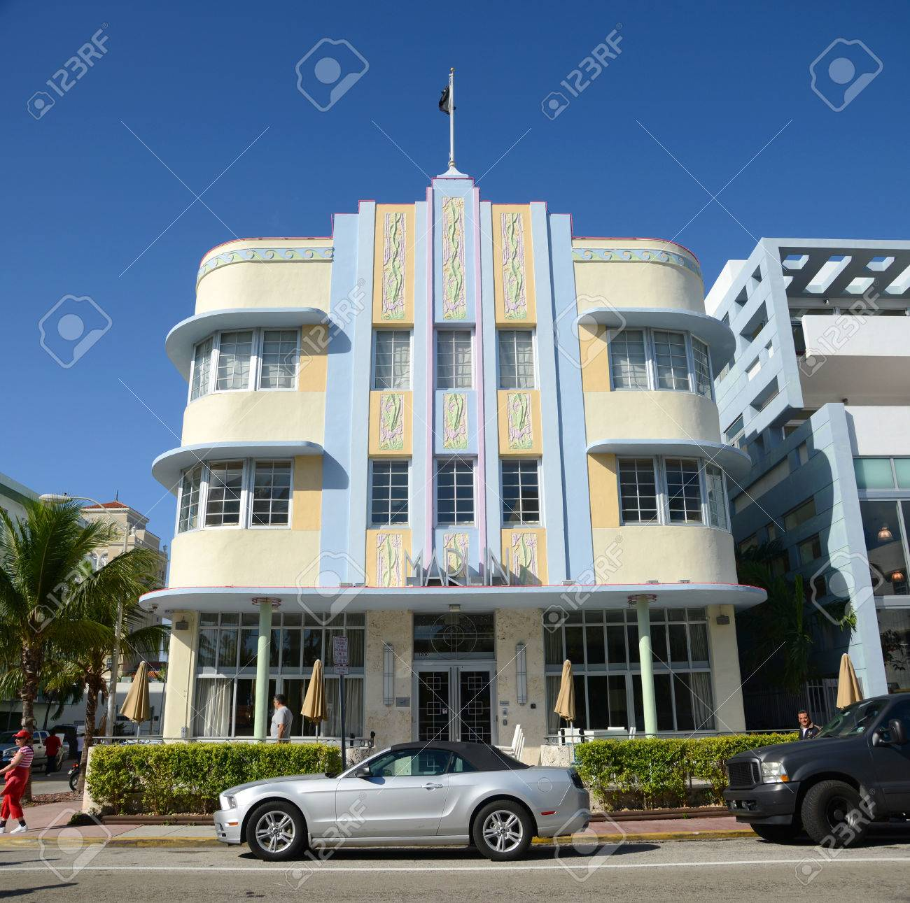 Art Deco Stil Art Deco Stil Gebäude Marlin Hotel In Miami Beach Am Morgen Miami Florida Usa