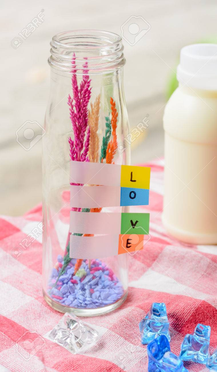Milk Bottles For Decoration Word Love On Color Paper At Decoration Glass Bottle With Milk