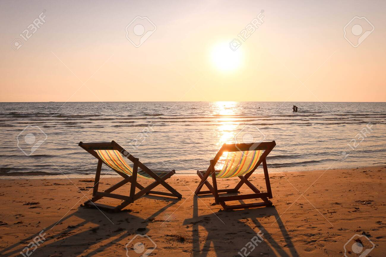 Beach Chairs On The Tropical Beach And Sea At Summer Sunset Time Stock Photo Picture And Royalty Free Image Image 120348822
