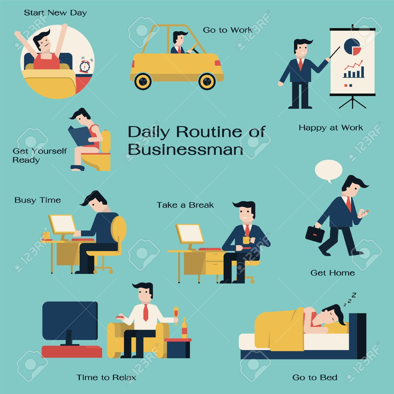 Drive Work Businessman In Daily Routine Get Up Drive To Work Working
