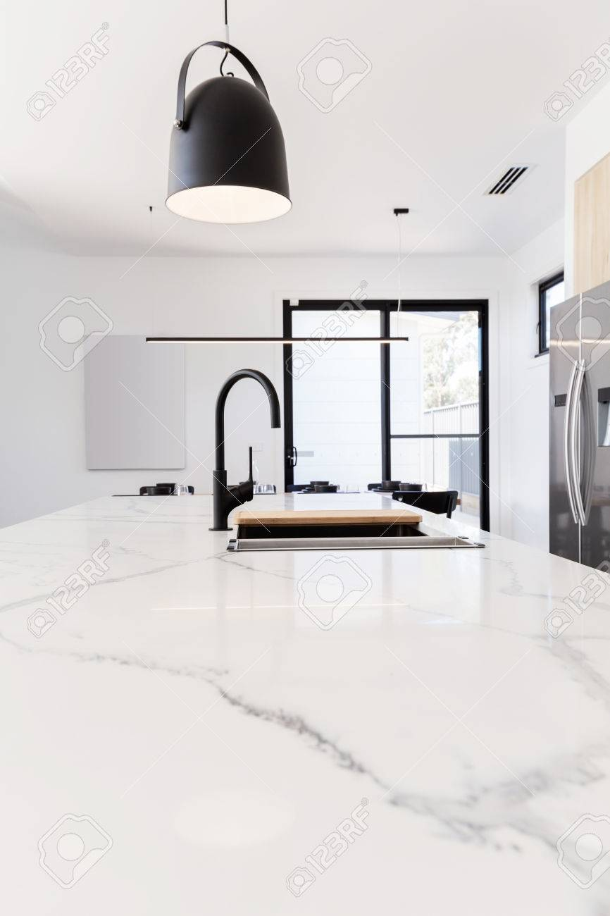 Grey Benchtop Kitchen Carrera Marble Benchtop With Black Goose Neck Kitchen Tap And