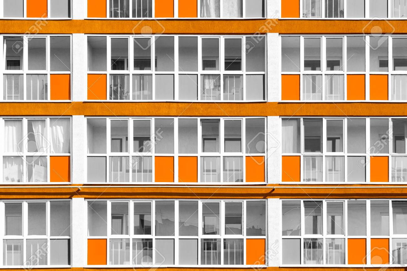 Orange Exterior Paint Futuristic Housing Apartments With Unsaturated Colours With Highlighted